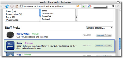 Nappy Widget, on Apple.com